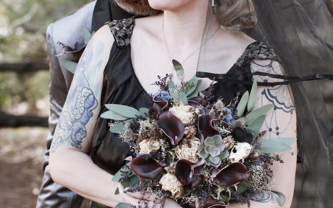 A Blue Moon Wedding for Two Goth Romantics